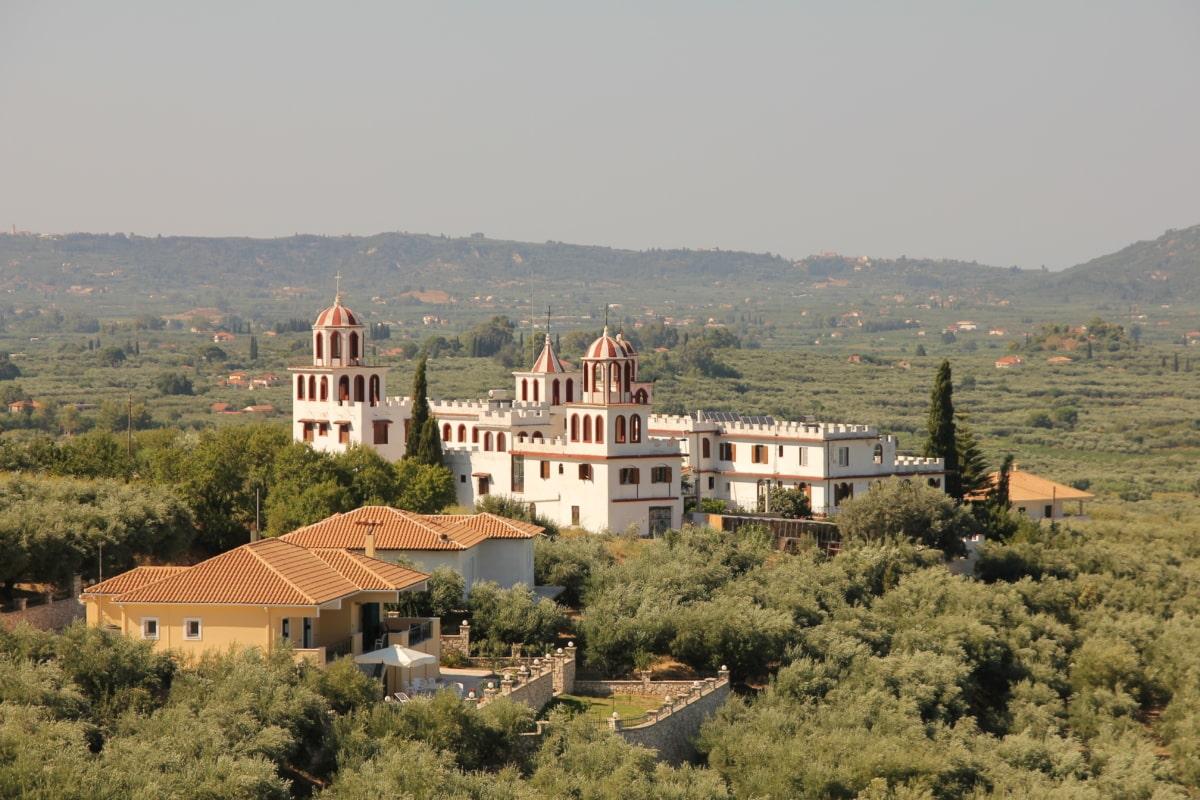 greece, monastery, church tower, orthodox, house, residence, town, palace, building, church
