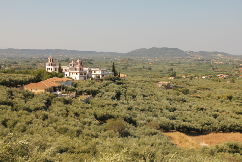 monastery, distance, church tower, panorama, hills, greece, landscape, rural, tree, hill