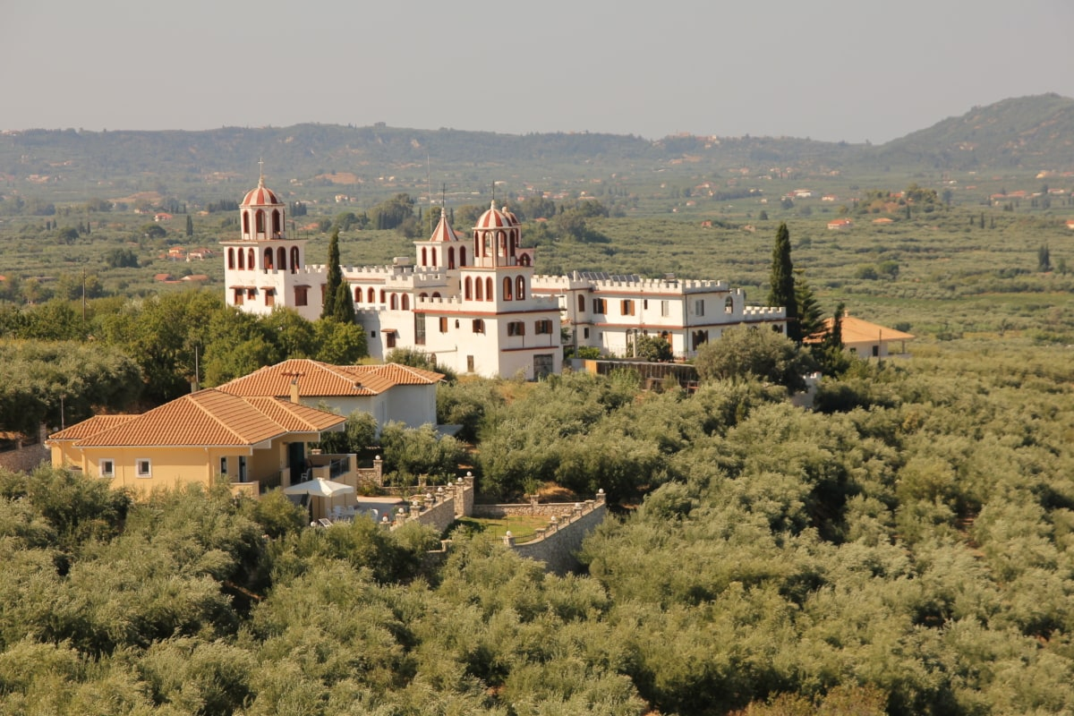 greece, orthodox, religion, monastery, church, church tower, panorama, landscape, house, architecture