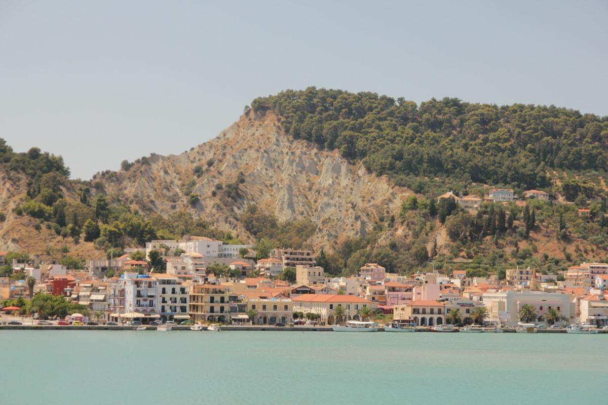 greece, mediterranean, seashore, cityscape, panorama, water, sea, shipping, city, architecture