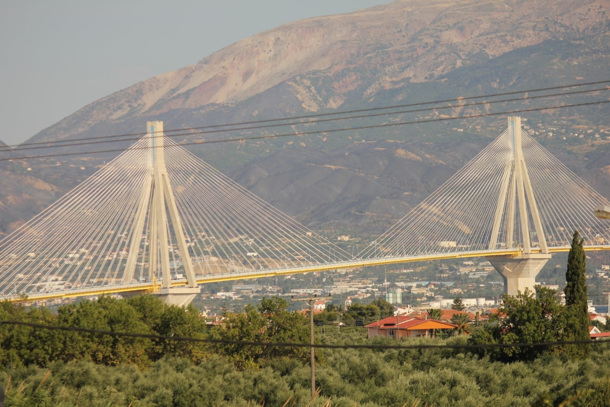 suspension bridge, bedrock, mountainside, panorama, highway, bridge, structure, city, sunset, landscape