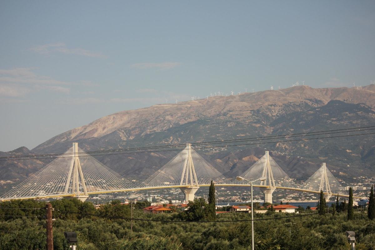 suspension bridge, white, massive, metropolitan, mountain, bridge, water, sunset, landscape, city