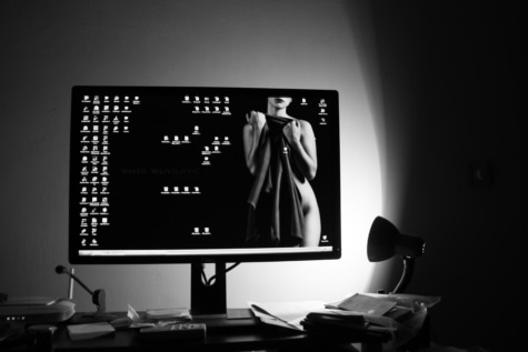 desktop, black and white, monitor, digital computer, office, desk, lamp, design, shadow, technology
