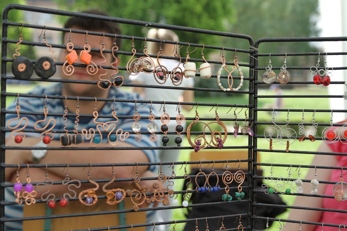 earrings, jewelry, handmade, homemade, people, outdoor, iron, fun, outdoors, summer