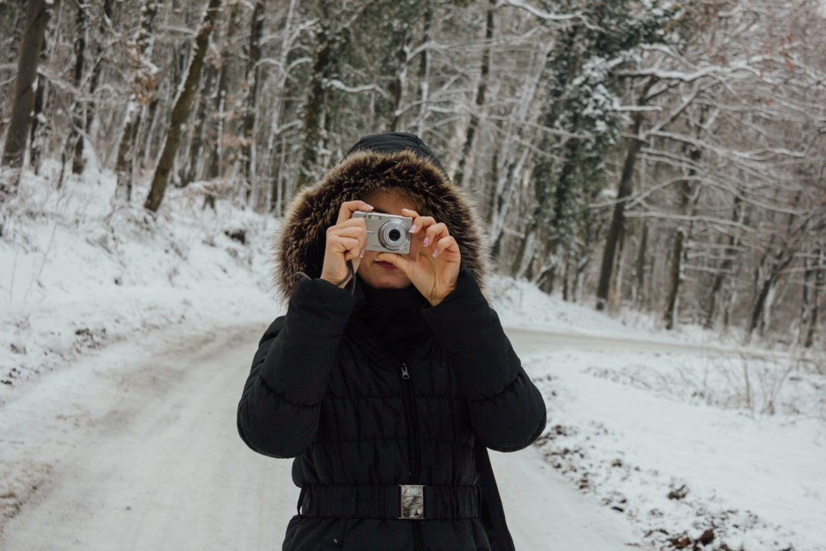 pretty girl, winter, photographer, digital camera, fashion, forest road, snow, girl, cold, slope