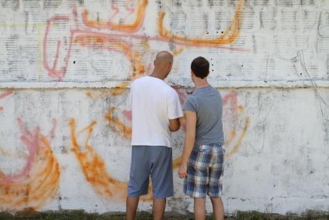 graffiti, taiteilija, seinä, pojat, maalaus, taidemaalari, pensseli, remontin, Luovuus, mies