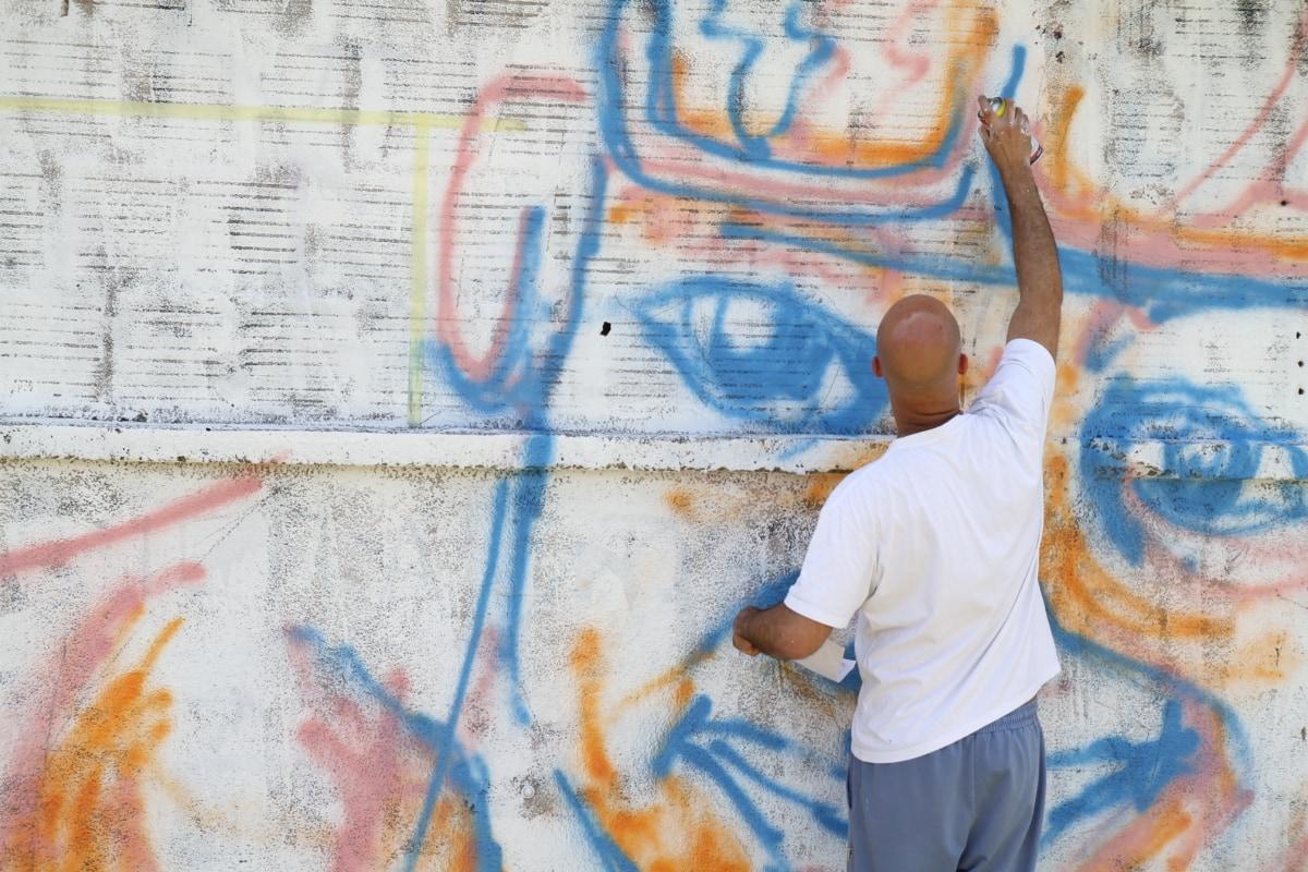 man, graffiti, artist, spraying, painting, creativity, artistic, wall, vandalism, art