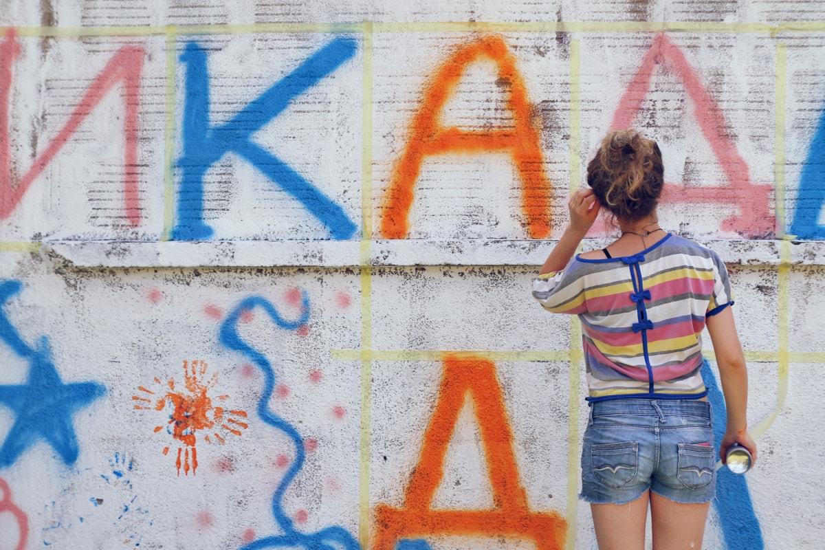 Graffiti, jeune femme, artiste, mur, mode de vie, pulvérisation, décoration, art, artistique, oeuvre