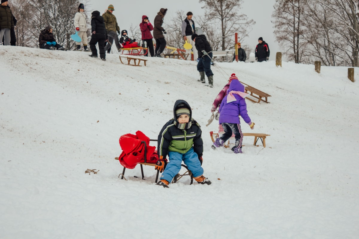 children, downhill, childhood, playground, sled, snow, winter, cold, slope, mountain