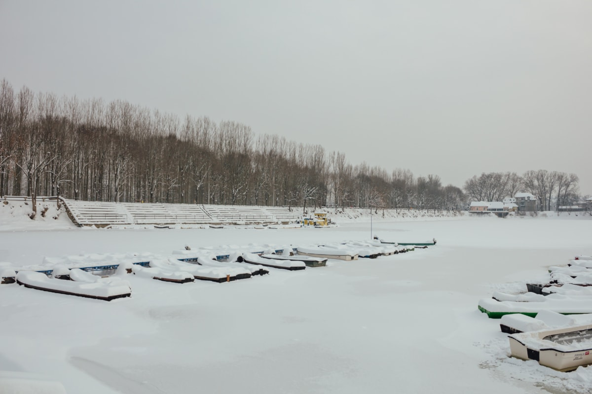 harbour, snow, riverbank, winter, cold, ice, landscape, weather, snowmobile, frost