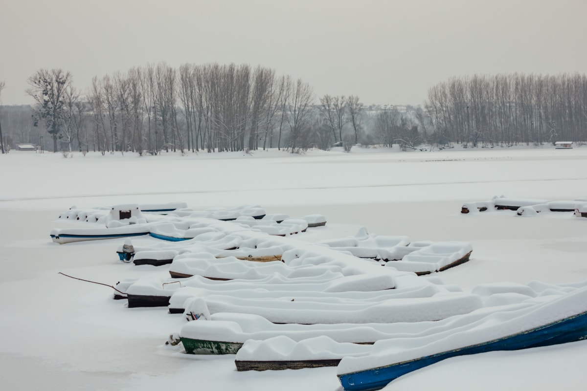 harbour, snow, boats, Danube, cold, ice, snowmobile, landscape, forest, mountain
