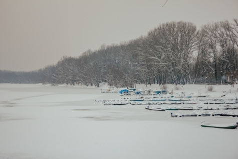 lake, frozen, harbor, snowy, boats, landscape, snow, forest, winter, weather