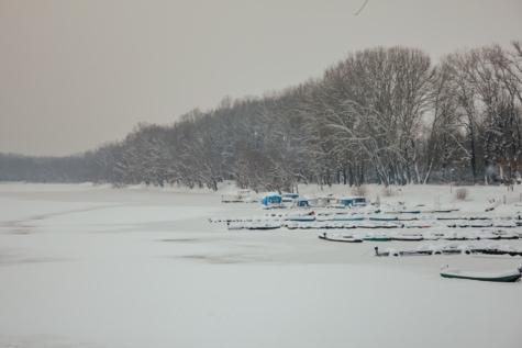 jezero, zamrznuto, luka, snježne, brodovi, krajolik, snijeg, šuma, zima, vremenska prognoza