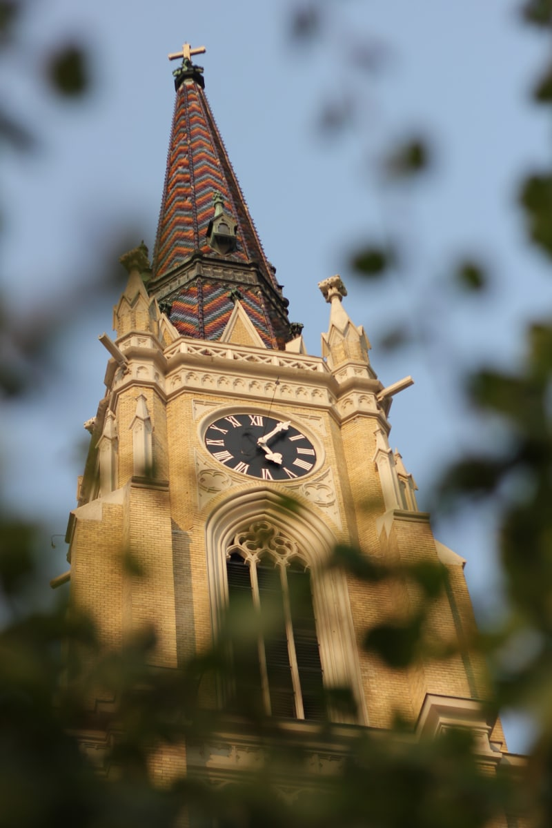 church, church tower, analog clock, building, tower, cathedral, architecture, clock, outdoors, old