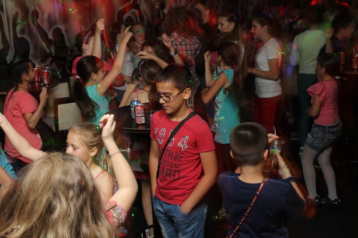 party, discotheque, children, kids, celebration, friends, spot, fun, happy, room