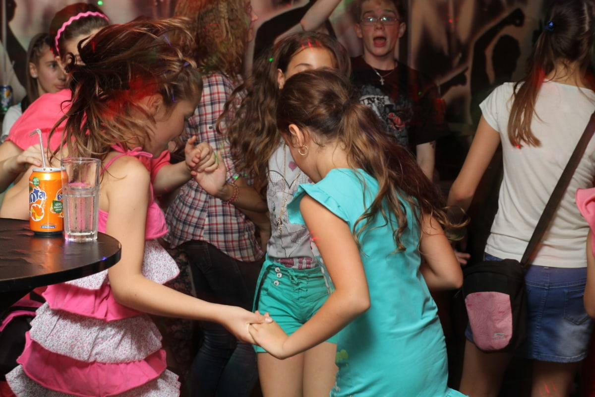 birthday, discotheque, children, party, dancing, happy, together, group, girl, child