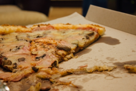 pizza, mushroom sauce, mozzarella, lunch, meal, cheese, restaurant, dinner, food, delicious