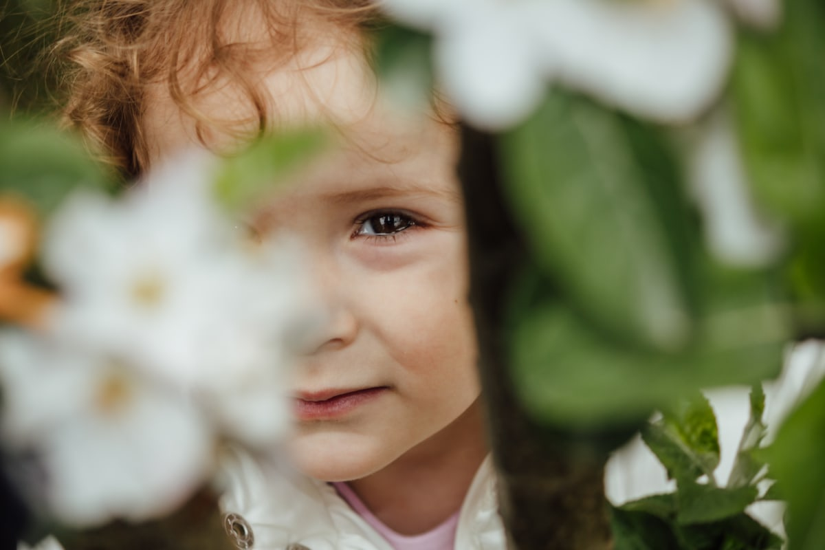 hide, cute, child, innocence, nature, flower, summer, portrait, outdoors, love