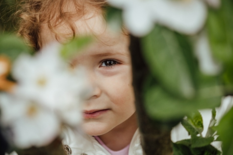 hide, cute, child, innocence, nature, flower, summer, portrait, outdoors, love