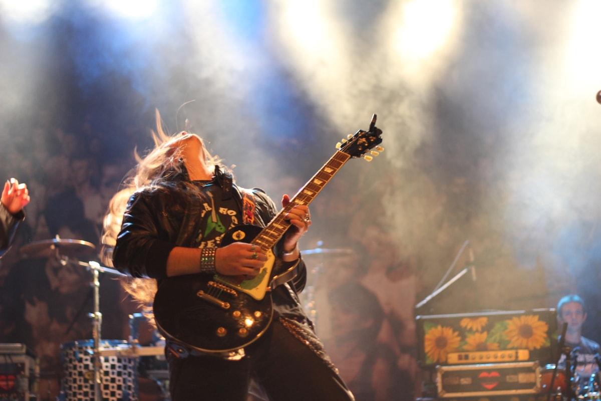 entertainer, rock concert, drumstick, music, guitarist, stage, musician, guitar, concert, performance