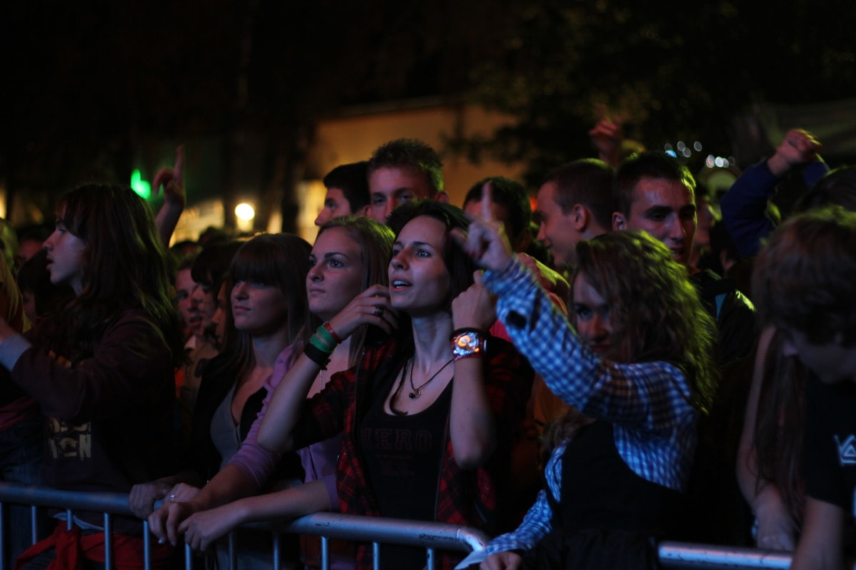 rock concert, music, crowd, spectator, nightlife, audience, nightclub, people, friends, many