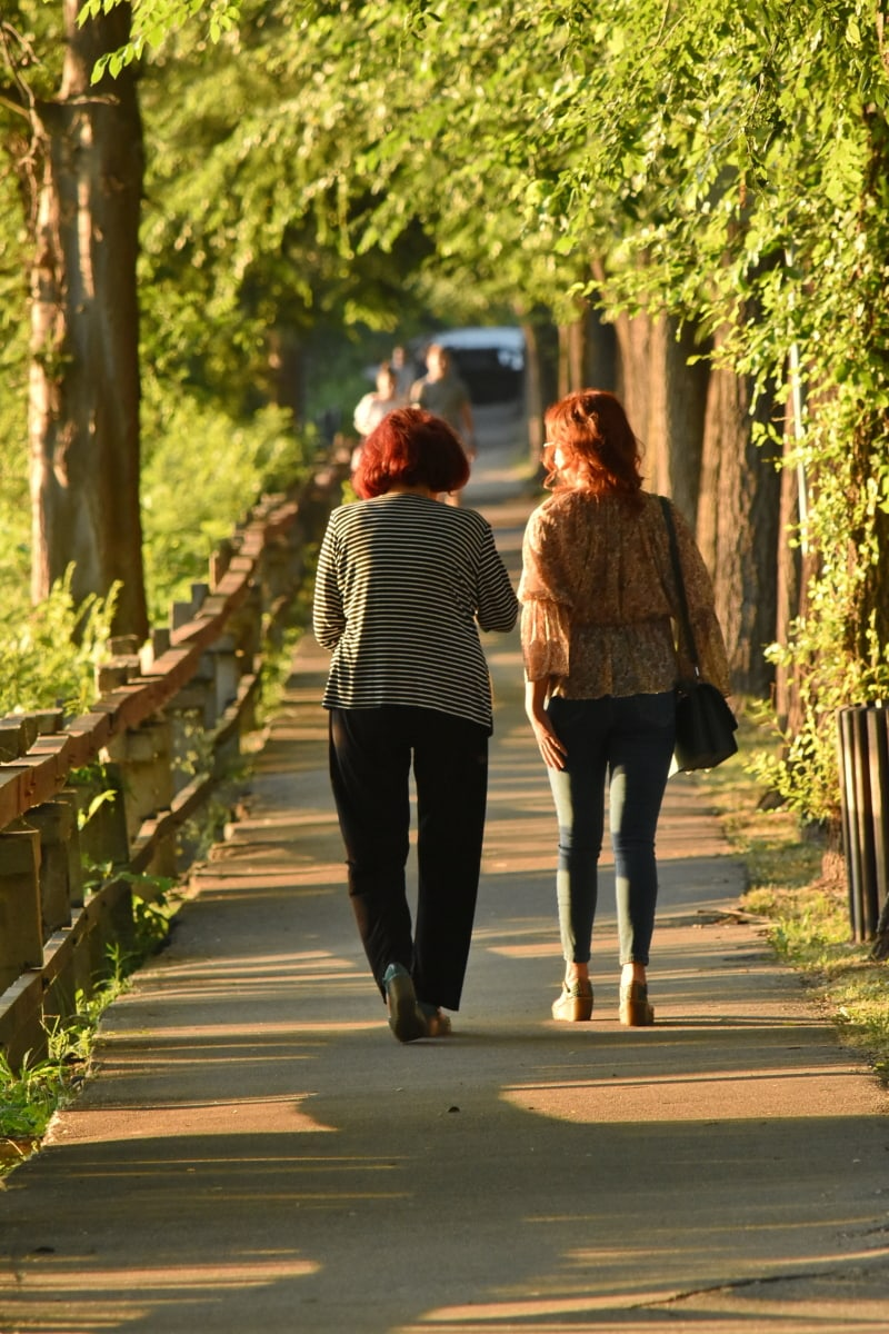 daughter, walking, grandmother, family, alley, park, girl, woman, people, street