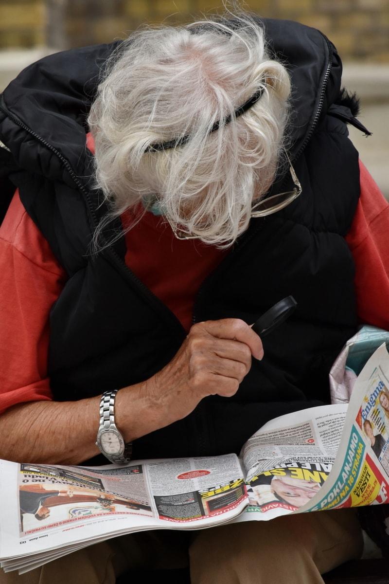 grandmother, granny, newspaper, reading, magnification, senior, eyeglasses, pensioner, tool, woman