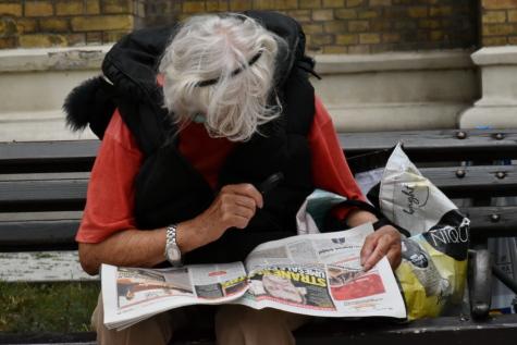 eye disease, person, reading, elderly, newspaper, people, daylight, jacket, news, outdoor