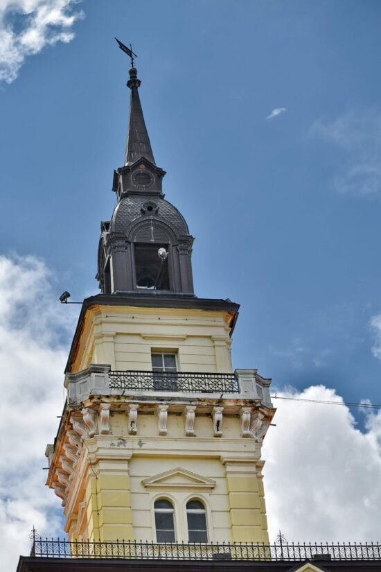 tower, landmark, lightning rod, balcony, building, architecture, old, city, outdoors, traditional