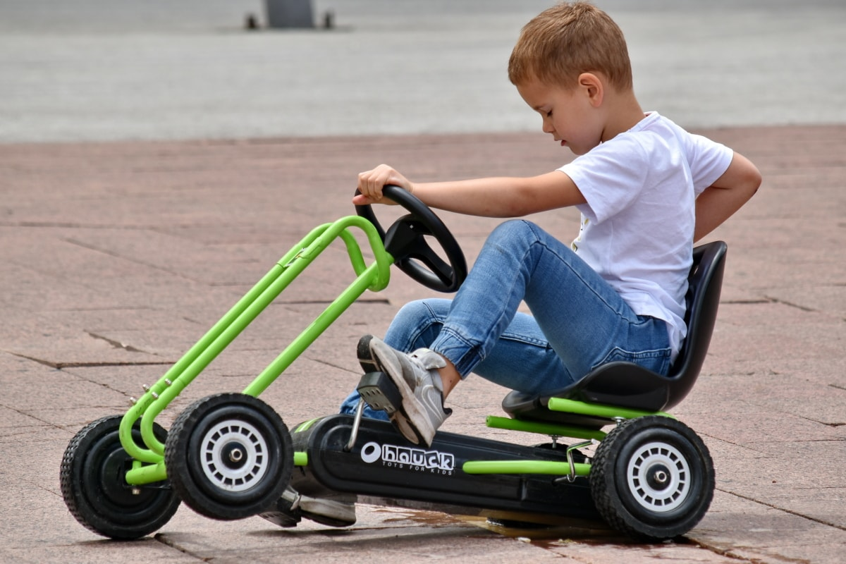 boy, toy, cart, vehicle, car, speed, fun, sport, outdoors, drive
