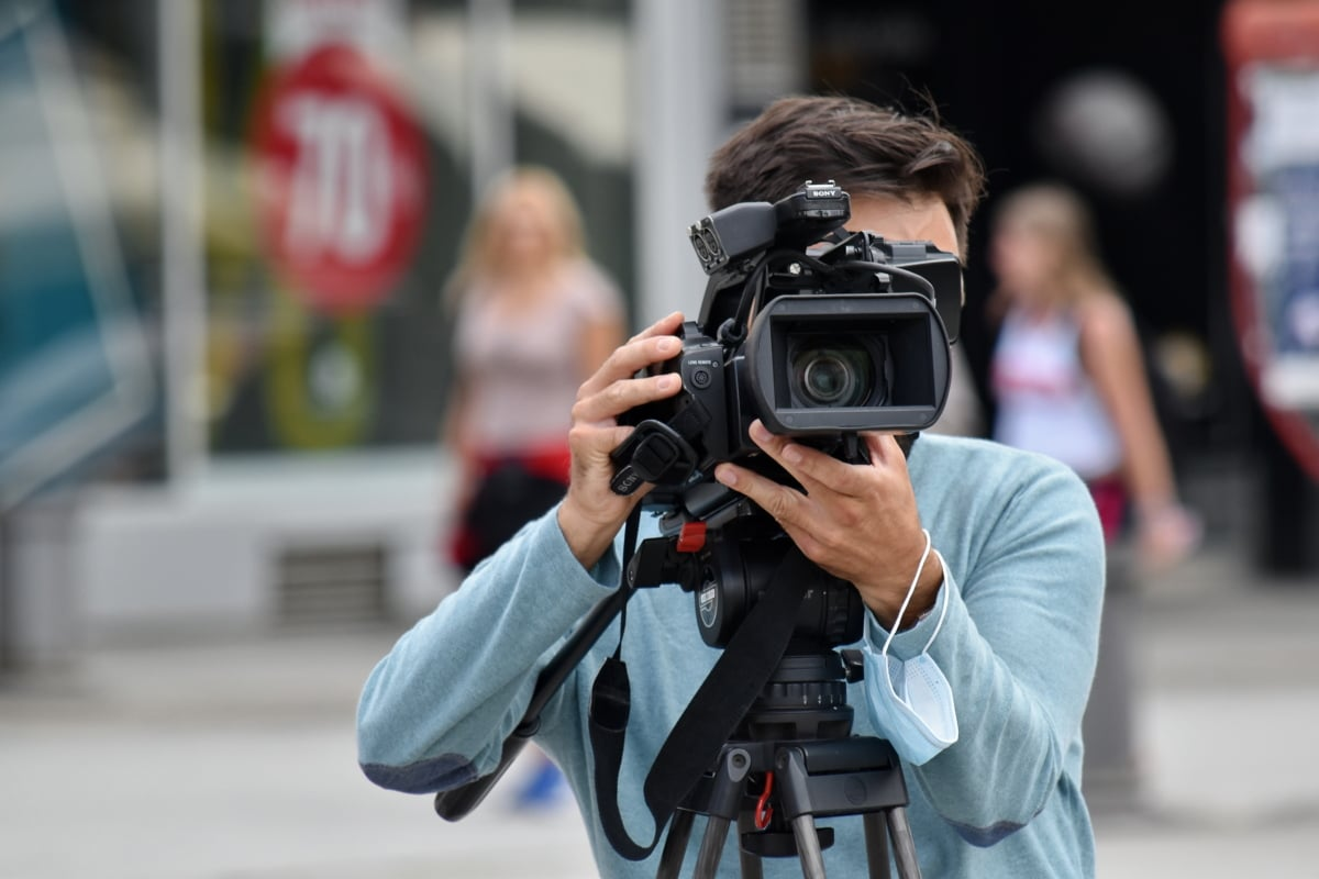 Free picture: movie, video recording, filming, street, television news,  tripod, camera, photographer, lens, equipment