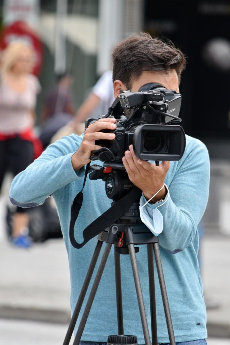 video recording, tripod, camera, camcorder, television news, filming, equipment, photographer, lens, man