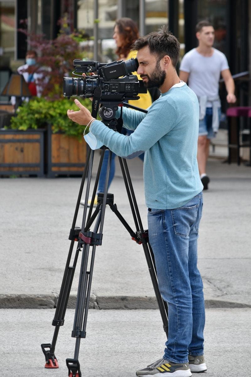 employee, camera, man, video recording, filming, tripod, photographer, equipment, person, lens
