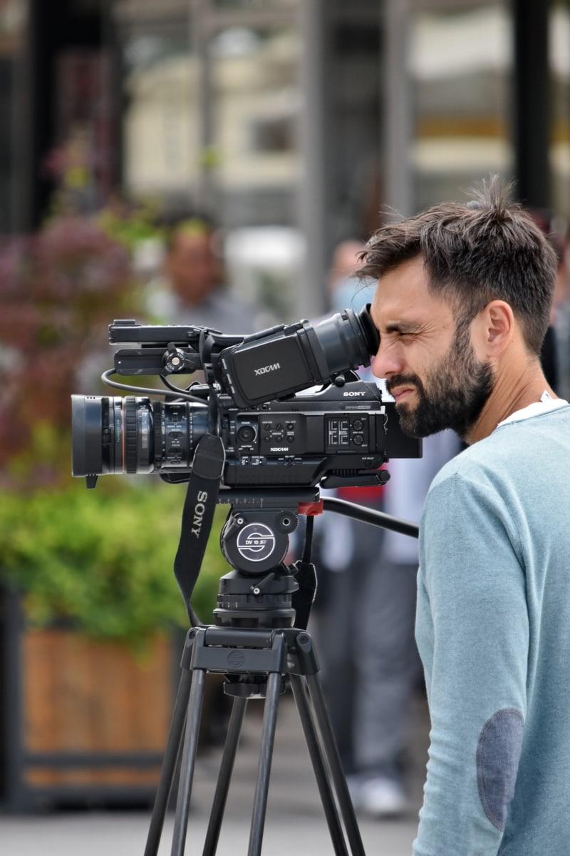 man, beard, camcorder, video recording, television news, paparazzi, photojournalist, equipment, lens, tripod