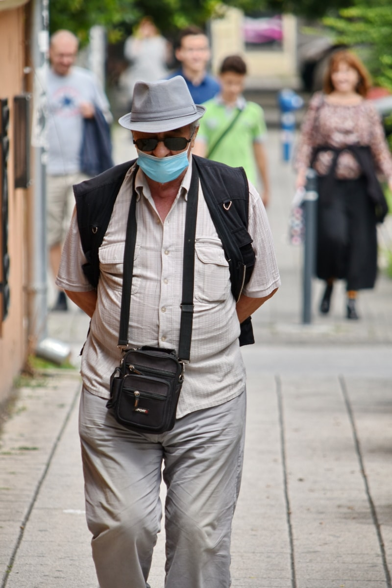 social distance, coronavirus, street, elderly, face mask, portrait, man, city, urban, outdoors