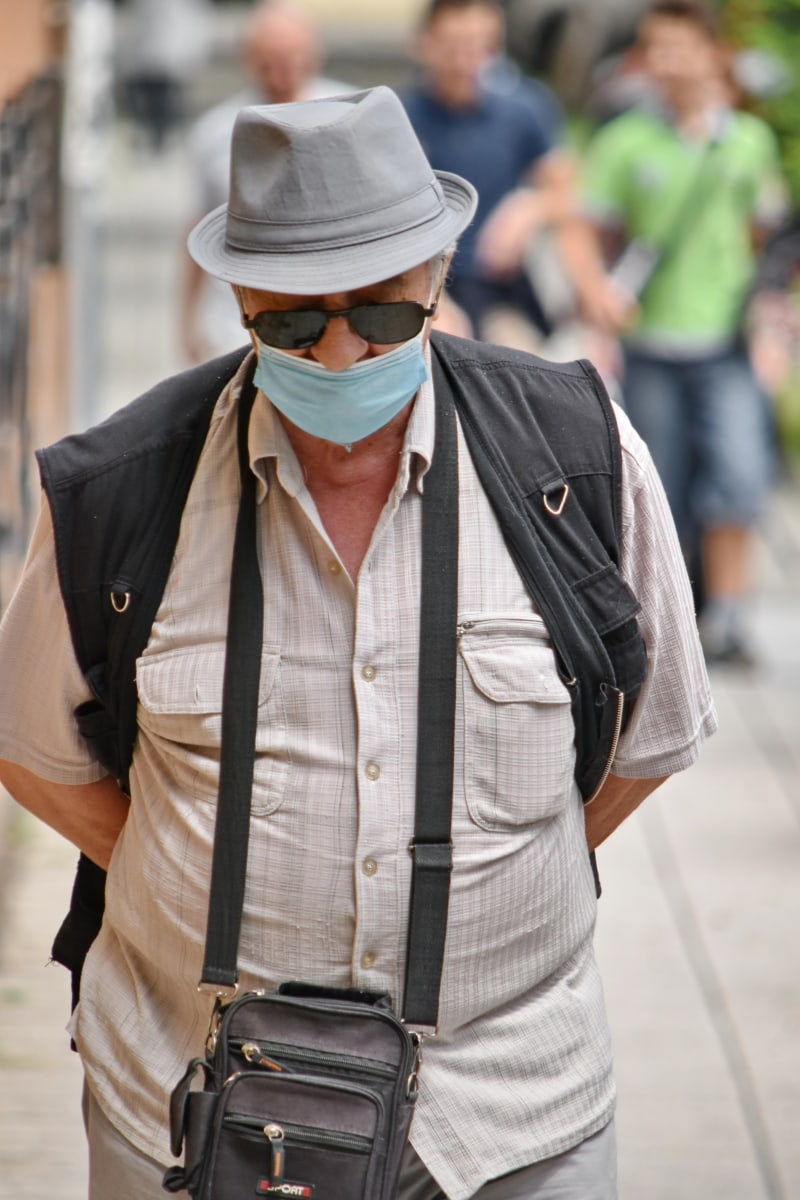 self isolation, social distance, coronavirus, protection, infectious disease, face mask, street, person, man, urban