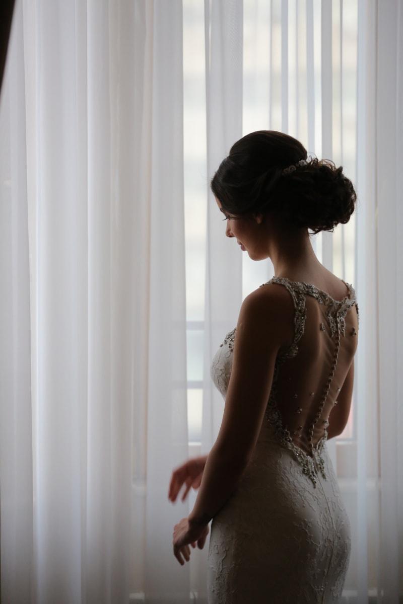 bride, innocence, wedding dress, hairstyle, pretty, woman, window, girl, fashion, indoors