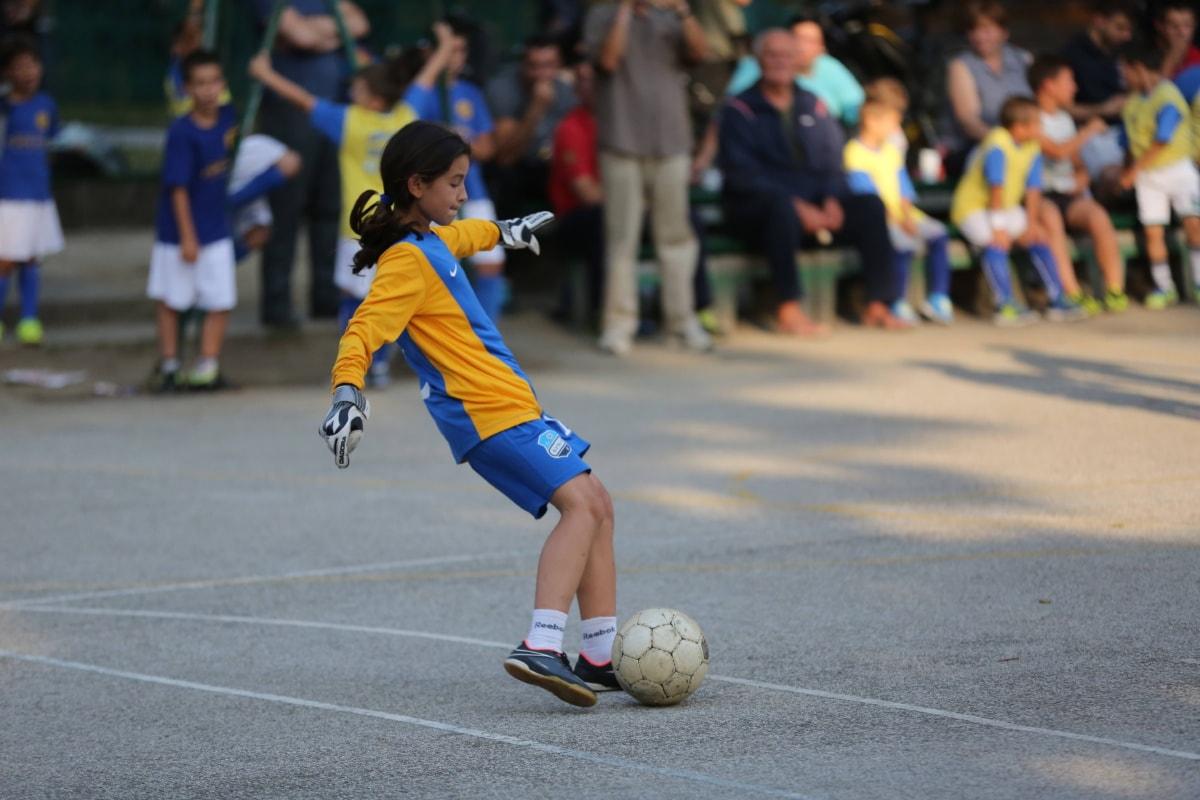 soccer, football player, soccer ball, girl, kick, sport, competition, ball, equipment, athlete