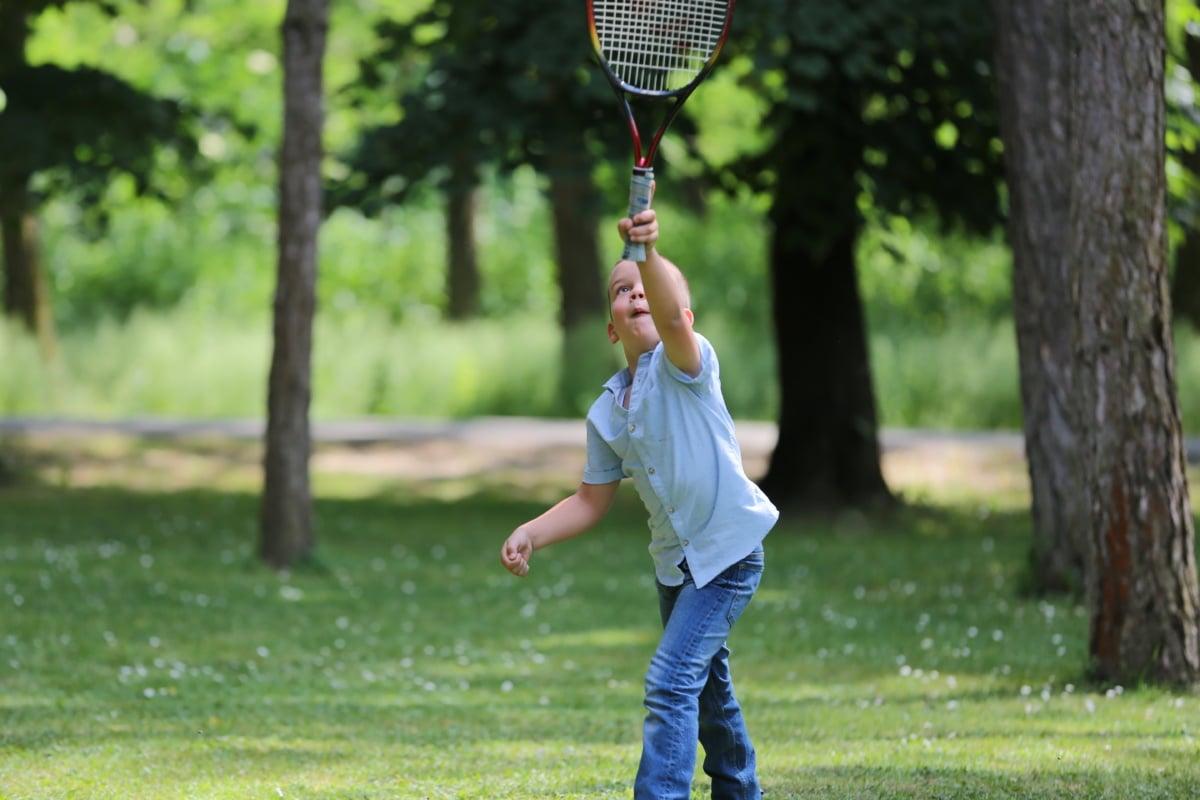 dječak, teniski reket, tenis, vježba, program obuke, lopta, reket, sportski, slobodno vrijeme, park