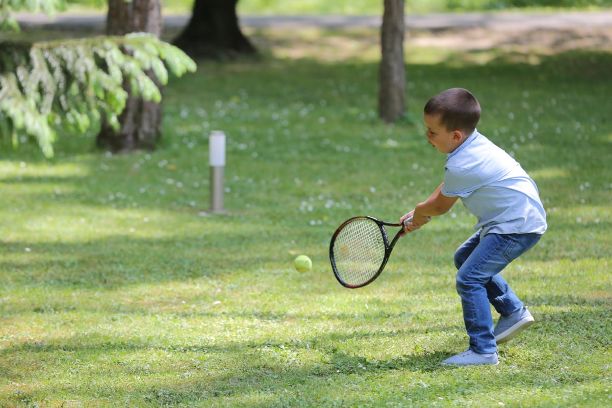 playful, playing, lawn, tennis racket, tennis, child, recreation, active, ball, racket