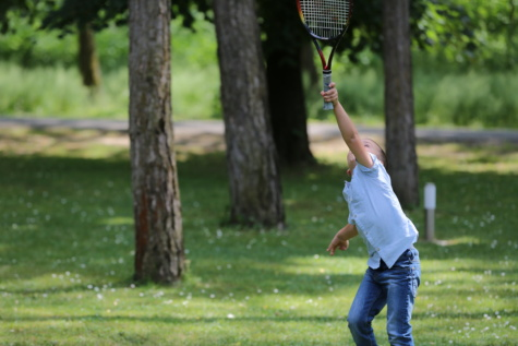 child, tennis racket, recreation, tennis, swing, ball, club, racket, grass, sport