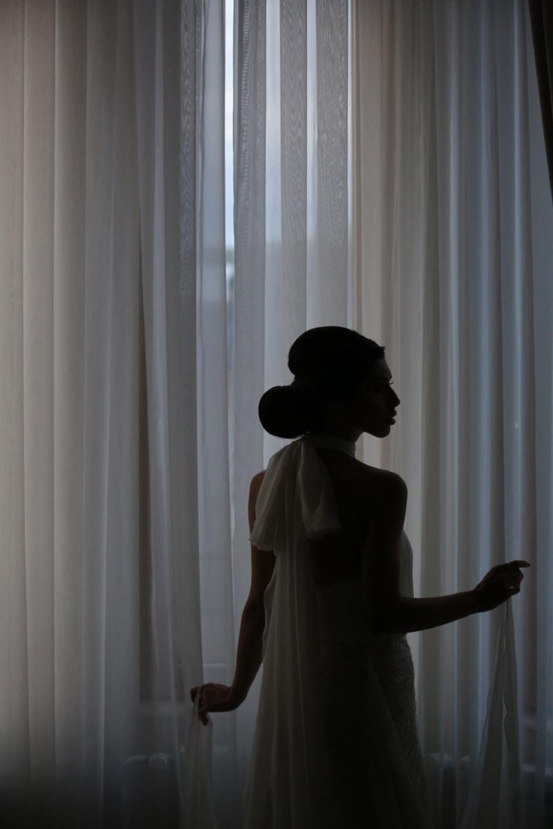 bride, wedding, wedding dress, silhouette, photo model, shadow, gorgeous, girl, curtain, model