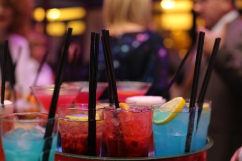 cocktails, coloré, parti, discothèque, boîte de nuit, consommation de paille, verre, restaurant, boisson, période de vacances