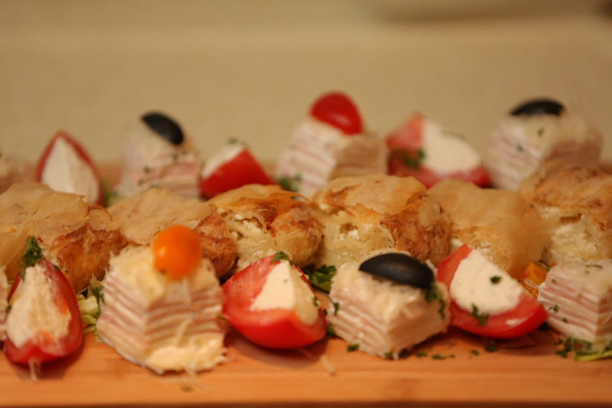 cheese, appetizer, cheesecake, buffet, dinner, vegetable, plate, food, dish, sushi