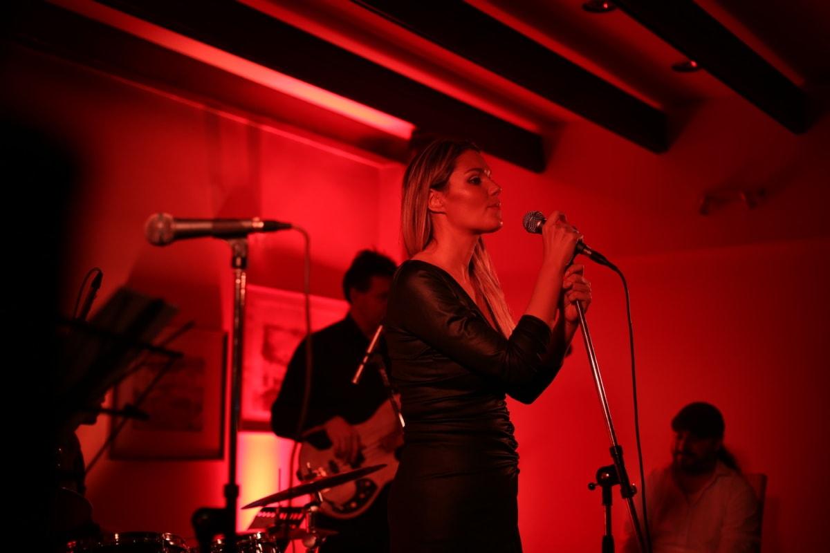 singer, singing, nightlife, portrait, nightclub, microphone, pretty girl, stage, performance, band