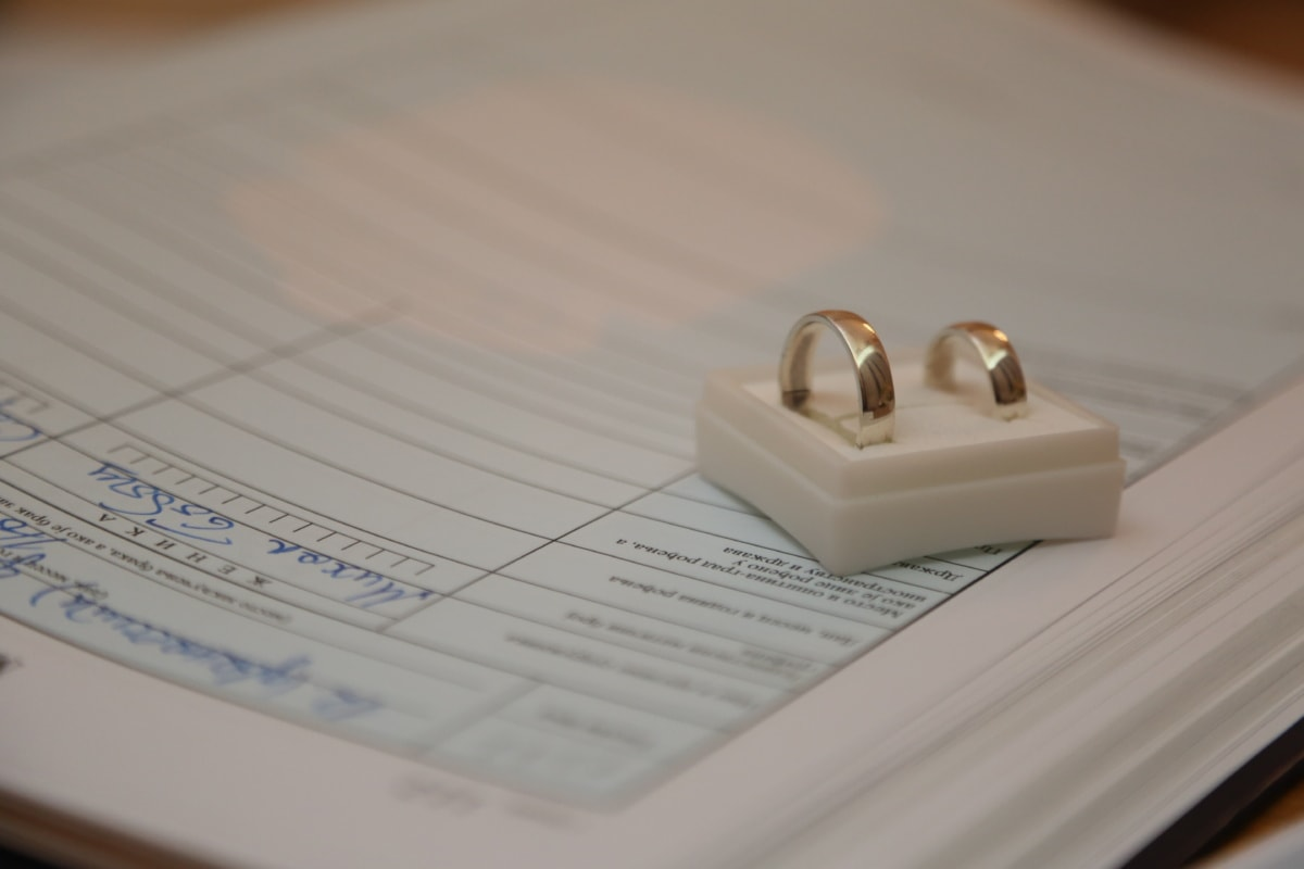 wedding ring, office, wedding, document, rings, gold, book, jewelry, business, still life
