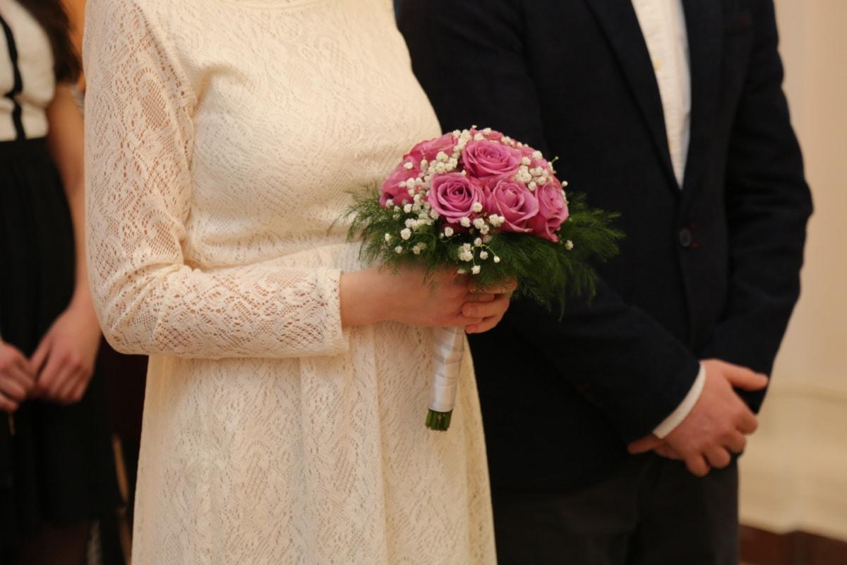 wedding bouquet, wedding, wife, bride, groom, ceremony, wedding dress, husband, bouquet, flowers