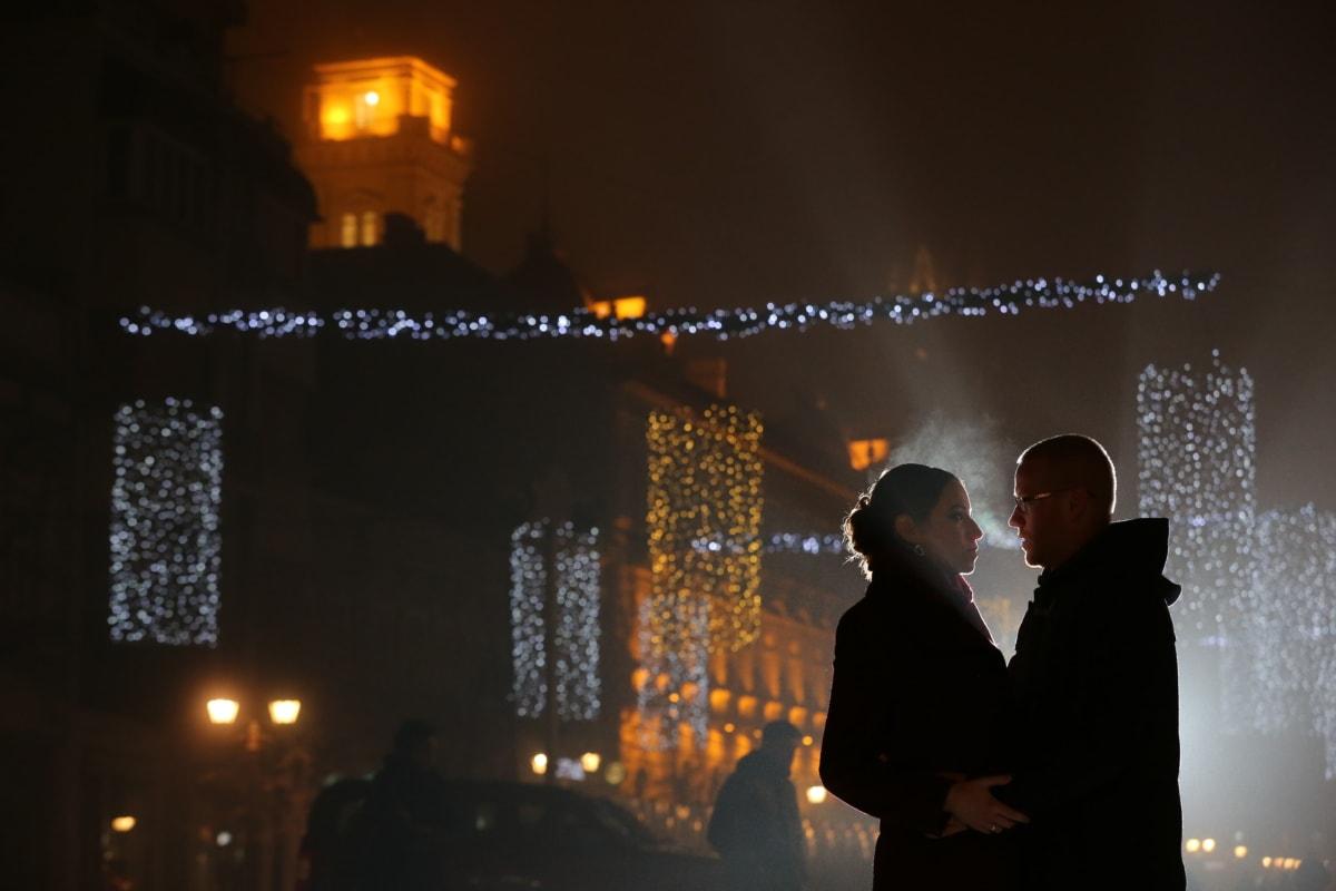 нова година, приятелка, гадже, Любов, романтичен, двойка, прегръдка, светлина, хора, мъж
