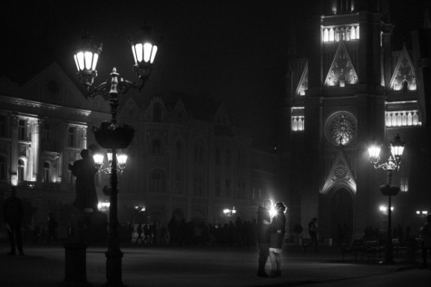 couple, gothic, black and white, girlfriend, boyfriend, night, downtown, square, architecture, light