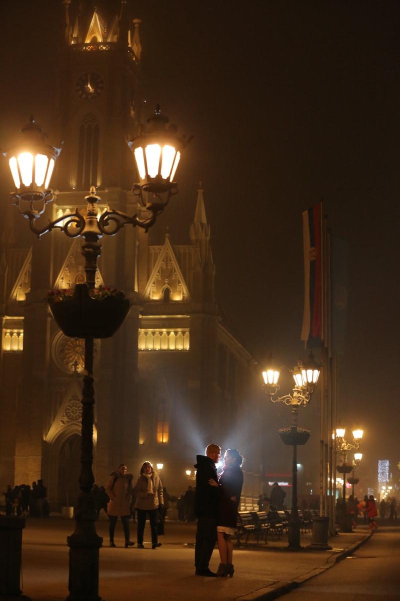 nighttime, cathedral, downtown, street, nightlife, romantic, boyfriend, girlfriend, chandelier, night